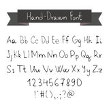 Thin Ink Black Pen Hand Drawn Font Stock Images