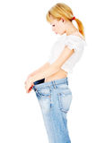 Thin lady after her diet lost kilograms Stock Images
