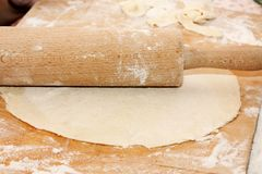 Thin layer of raw dough Stock Images