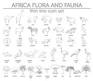 Thin line Africa flora and fauna elements. Animals, birds and se Royalty Free Stock Photo