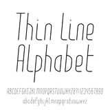 Thin line alphabet. Modern outline typeface. Royalty Free Stock Image