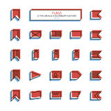 Thin line anaglyph style icons. Flags. Stock Images