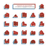 Thin line anaglyph style icons. Houses and buildings set. Royalty Free Stock Photos