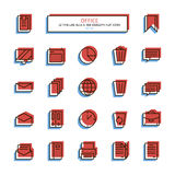 Thin line anaglyph style icons. Office. Stock Image
