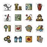 Thin line Archeology vector icons set Stock Images