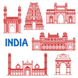 Thin line architecture landmarks of India icons. Popular indian architecture landmarks icon with red thin line symbols of India Gate and Meenakshi temple Royalty Free Stock Photo
