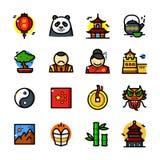 China icons set, vector illustration royalty free illustration