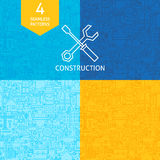 Thin Line Art Construction Pattern Set Stock Images