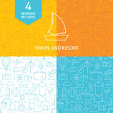 Thin Line Art Summer Holiday Travel Patterns Set Stock Photography