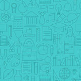Thin Line Back to School Learning Seamless Blue Pattern Stock Photography