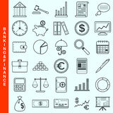 Thin line banking and finance vector icons Royalty Free Stock Photography