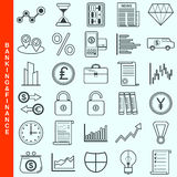 Thin line banking and finance vector icons. Set. Modern outline pictogram collection Stock Photography