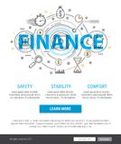 Banking service and finance concept illustration. Thin line banner design of banking, finance, strategy, investment, etc. Modern concept Flat Style Royalty Free Stock Photo