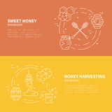 Thin Line Banners with Honey Stock Photos