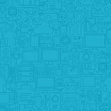 Thin Line Blue Electronic Gadgets Seamless Pattern Royalty Free Stock Images