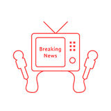 Thin line breaking news with red tv icon Stock Photos