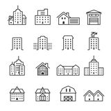 Thin line building icon set, vector eps10 Royalty Free Stock Images