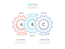 Thin line business infographic template with gears cogwheels 3 s. Teps, processes, parts, options. Editable stoke. Vector illustration Stock Images