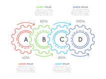 Thin line business infographic template with gears cogwheels 4 s. Teps, processes, parts, options. Editable stoke. Vector illustration Stock Photo