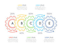 Thin line business infographic template with gears cogwheels 5 s. Teps, processes, parts, options. Editable stoke. Vector illustration Stock Photos