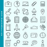 Thin line business and office vector icons set Royalty Free Stock Photo
