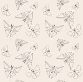Thin Line Butterfly. Paper Origami Style. Vector Seamless Pattern. Origami To Make. Royalty Free Stock Images