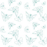 Thin Line Butterfly Paper Origami Style. Vector Seamless Pattern Paper Origami. stock illustration