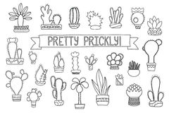 Free Thin Line Cactus And Succulent  Clipart. Potted Cactus And Succulents Icons. Royalty Free Stock Photos - 92135788