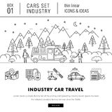 Thin line car industry in modern style Stock Images