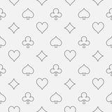 Thin line card suits pattern. Vector poker or casino seamless outline minimal pattern Stock Photo