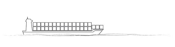Thin line cargo ship. concept of seaport emblem, voyage, shipbuilding, trip, anchor. Stock Photo