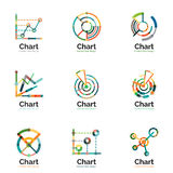 Thin line chart logo set. Graph icons modern colorful flat style Royalty Free Stock Images