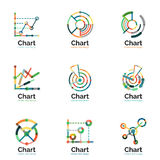 Thin line chart logo set. Graph icons modern colorful flat style Stock Photography