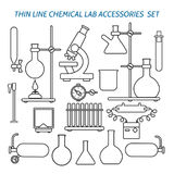 Thin line chemical lab equipment. And accessories set. Biology science and medical engineering linear vector icons Royalty Free Stock Image