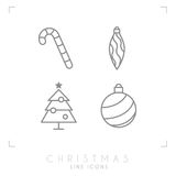 Thin line christmas icons. Decoration ball, christmas tree, candy cane. Royalty Free Stock Photography