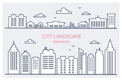 Thin line City buildings set. Downtown landscape with high skyscrapers. Panorama architecture City landscape template vector illustration