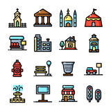Thin line City Environment set, vector illustration Stock Image