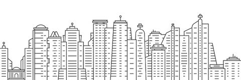 Thin line city panoramic view on white background. Simple flat style trend modern logotype or minimal graphic black art design. concept of panorama of downtown Stock Image