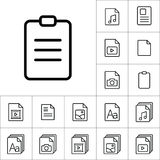 Thin line clipboard icon, different type file icons set on white. Background Stock Photo