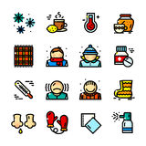 Thin line Colds icons set, vector illustration. Thin line Colds icons set, Seasonal Diseases outline logos vector illustration Royalty Free Stock Images