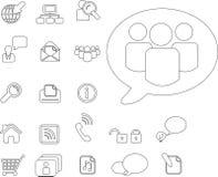 Thin line communication icon set Royalty Free Stock Image