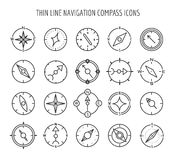 Thin line compass icons Royalty Free Stock Images