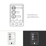 Thin line concept icon of healthcare gamification. Vector illustration of future medicine trend. Medical gadgets and technological innovations. Thin line concept vector illustration