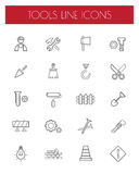 Thin Line Construction tools Icons set.vector. Stock Photography
