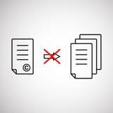 Thin line copyright symbol like prohibit copying royalty free illustration