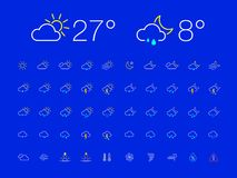 Thin Line Day Night Weather Icon Set. Set of 50 simple modern thin line weather icons for web or mobile app. Clean sharp outline flat design with day and night vector illustration
