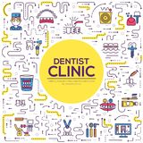 Thin line dentist clinic baking brochure cards set.  Dent instruments template of flyear, magazines, poster, book cove. R, banners. Outline medical invitation Royalty Free Stock Photography