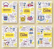 Thin line dentist clinic baking brochure cards set. Dent instruments template of flyear, magazines, poster, book cover. Banners. Outline medical invitation Stock Photo