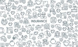 Banner on theme insurance2. Thin line design banner on theme insurance. Insurance of life, house, money, health, car. Vector illustration Royalty Free Stock Images