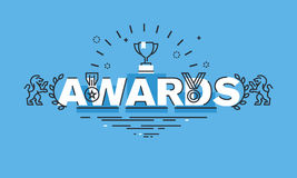 Thin line design concept for awards website banner. Vector illustration concept for information about awards for the business success, sports achievements Stock Photo